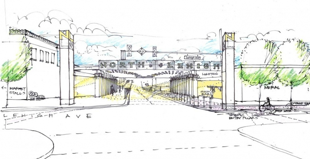 Sketch of draft concept for Lehigh viaduct gateway improvements