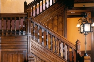 Photo of restored woodwork and staircase