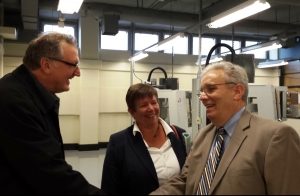 Photo of BWA Principal Morrie Zimmerman with School Reform Commmission Chair Margorie Neff and the school district's Deputy of Career and Technical Education David Kipphut at new Center for Advanced Manufacturing and Engineering