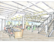 Color rendering of Salus University's Learning Resource Center, first floor Credit: William Collett