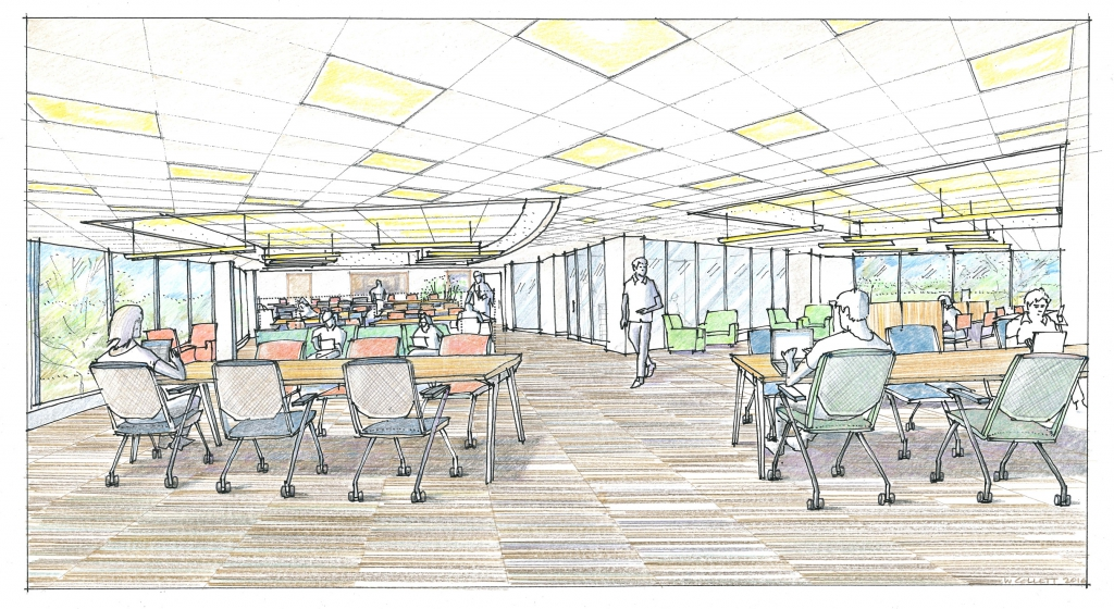Colored hand drawing of large room with lots of windows, people sitting at various table and chairs and glass walls enclosing smaller interior rooms